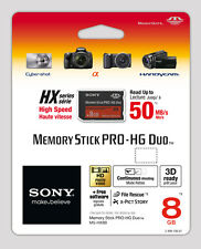 Sony 8GB MS Memory Stick Pro Duo Pro-HG HX Series 50MB/s Free Software MSPD 8G B