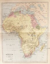 OLD ANTIQUE MAP AFRICA c1880's by BARTHOLOMEW / BLACKIE 19th C PRINTED COLOUR