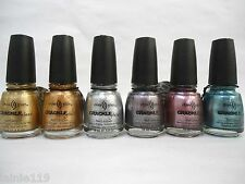 Set of 6 China Glaze CRACKLE METAL Collection, Metallic Shades, Full-Sized
