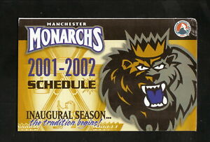 Manchester Monarchs--2001-02 Pocket Schedule--Dunkin' Donuts--Kings Affiliate