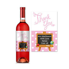 Personalised Pink Teacher Thank You Wine Label Gift