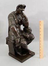 19thC Antique Large Grand Tour Bronze Sculpture Lorenzo de' Medici Michelango