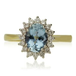 PRE-OWNED 18CT GOLD AQUAMARINE & DIAMOND CLUSTER RING.   RRP £2250