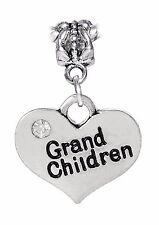 Grandchildren Heart Grandmother Gift Rhinestone Dangle Bead fits Charm Bracelet
