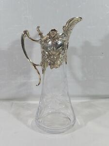 Schöne Atlantis Kristallglas Karaffe mit 925 Silbermontur im Jugendstil um 1980