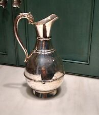 Mexico Silver Plate Pitcher Ewer Scroll Bands Dolphin Head Handle