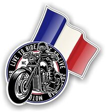 Retro Biker Club Cafe Racer Design With French Flag Vinyl Car Sticker 100x106mm