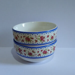 Small Nibble Bowls White with Blue & Pink Floral Design x 2 - Please Read.
