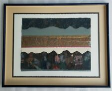 Signed & Numbered 1/1 Becky Sansing Gold Birds II Mixed Media Art Collage Print