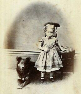 Victorian CDV Photo Girl Child Dog Davidson Studio Blackburn 1860s-1870s