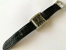Large GG Quartz Wrist Watch Clear Stone Japan Movt Black Strap Runs