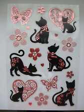 Craft Foil Embossed Sticker Embellishments- Cats-Hearts-Butterflies-Flowers pink