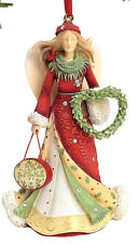 HEART OF CHRISTMAS~ANGEL W WREATH & SIGN~ORNAMENT~DECK THE HALLS~K.HAHN~6001393