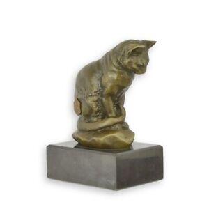 9973810 Skulptur Figur Bronze Katze auf Steinsockel 9x6x12cm