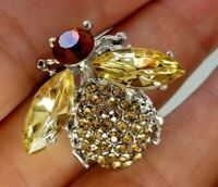 Bee Insect brooch amber crystal marquise rhinestone vintage style  in gift box