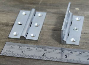 "Strong Furniture Butt Hinge Brushed Nickel on Brass 2.5"" / 63mm Milled 6G screws"