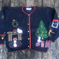 Women's Bonnie Noble - UGLY CHRISTMAS CAT CARDIGAN SWEATER - Small Button Up