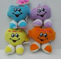 "(Set of 4) ""SO SPECIAL"" Heart Smiley Face Plush Squeaking Dog Toys In 4 Colors"
