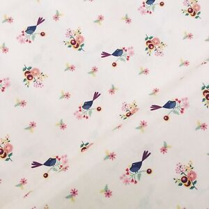 Rosewood cream birds flowers floral leaves pretty 100% cotton Fabric HALF METRE