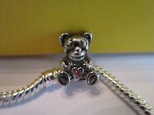 Pugster® Silver/P Pink Crystal Love Heart Bear Animal European Charm Bracelet