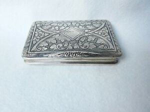 HANDSOME LARGE ANTIQUE STERLING SILVER AND GILDDED SNUFF BOX PILL BOX