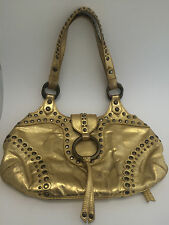 Isabella Fiore Bling Leather Studded Hobo HandBag Purse Shoulder Bag Gold