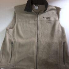 Columbia Men's Fleece Field Gear Full Zip Vest Beige And Brown Size XL