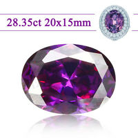 20x15mm 28.35ct Natural Purple Loose Diamond VVS AAA Gem Round Amethyst Cut