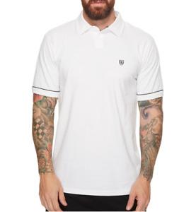 Brixton Mens White Carlos Short Sleeve Polo Knit Shirt Size Medium 81125