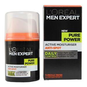 Loreal Men Pure Power Moisturiser 50ML Hydrates Helps Prevent Pimples Excess Oil