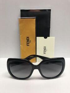 FENDI FF 0047/S D289O Black w/Silver Stones Sunglasses Made in Italy Authentic