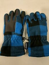 Lands' End Boys T200 EZ Touch Blue & Black Plaid Printed Glove w Rubber Palm NWT