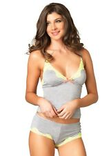 Leg Avenue Grey Jersey & Yellow Lace Camisole Set Top & Boy Shorts Size 12-14