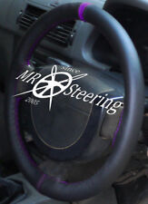 FITS PEUGEOT 206 HDi HATCHBACK BLACK LEATHER STEERING WHEEL COVER + PURPLE STRAP