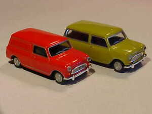 2x BMC Austin Mini 7 & Window Van 1968 Hongwell Cararama 1/72 Diecast Mint Loose