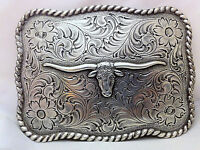 Longhorn with Etching Detailed Belt Buckle Silver