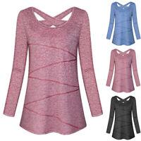 Damen Funktions T-Shirt Langarm Tunika Blusen Laufshirt Workout Training Lounge