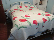 """Vintage Hand Quilted & Appliquéd Embroidered Red /Pink POPPIES QUILT  70"""" x 90"""""""