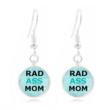 Rad Ass Mom glass Frea Earrings Art Photo Tibet silver Earring Jewelry #463