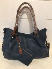 UTO Ladies Blue 3 Piece Handbag Set Large PU Faux Leather Tote Bag Purse Pouch