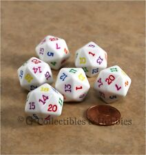 NEW Set of 6 White D20 with Multi-Colored Numbers RPG D&D Game 20 Sided Dice