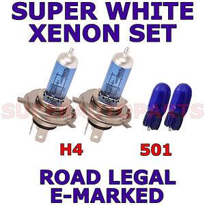 FITS DAEWOO MATIZ 1998-2003 SET H4 501 SUPER WHITE XENON LIGHT BULBS