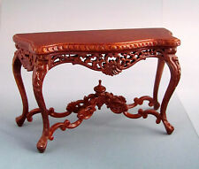 1:12th Scale ~ BESPAQ  DETAILED WALNUT CONSOLE TABLE ~ DOLLS HOUSE / SHOP/ HOTEL
