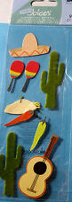 NEW 9 pc MEXICO Travel Cactus Sombrero Chilies Guitar Taco JOLEE'S 3D Stickers