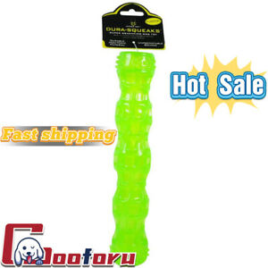 🐶Hyper Pet🐶DuraSqueaks Dog Toy Stick goDog Checkers Fat Rooster Medium Green