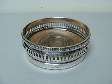 STUNNING ANTIQUE GORHAM SILVER PLATED WINE COASTER #0140, TURNED WOOD BASE
