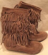 Women's Size 7 Brown Suede FRINGE BOOTS So Brand Kohl's  Flats Moccasins Style