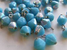 V796-72 pieces 8mm Turquoise AB Bi-Cone Shaped Beads w/Eyelets-FANTASTIC!