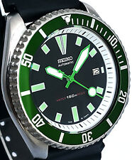 Vintage mens SEIKO diver 7002 mod All GREEN Hand set & Bezel -WHITE Chapter Ring
