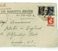 India KGVI PAKISTAN Overprint Cover OFFICIAL AIR MAIL Karachi 1948 London CW304